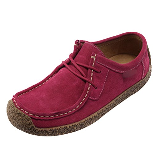 MatchLife Damen Schnürsenkel Mokassins Wildleder Pumps Schuhe Style1-Rosa