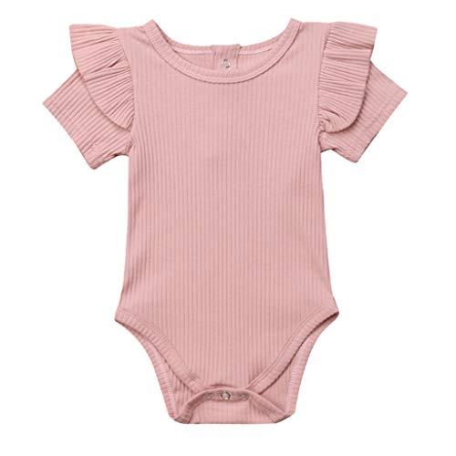 sex Jungen Mädchen Solide Kurzarm Rüschenspielanzug Overall Outfits Kleidung Elegant Freizeit Kleidung Neugeborene Mädchen Geburtstags Geschenk ()