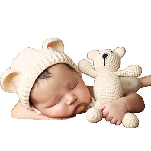 Bär Kostüm Boy - Quge Neugeborene Baby Fotografie Requisiten Boy Girl Crochet Kostüm Outfits Hat Bär Set Beige