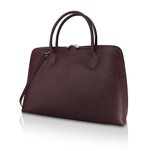 Glamexx24 Borsa vera Palle da Business Donna a mano , Casual Borsetta a tracolla, elegante Clutch Made in Italy 1.004 1.004.4 Rosso Scuro