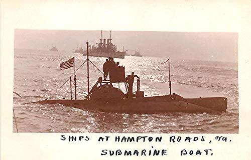 Military Battleship Postcard, Old Vintage Antique Military Ship Post Card Ships at Hampton Roads, VA, Submarine Boat Unused -