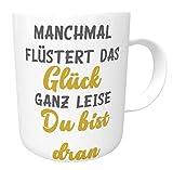 Kinderlampenland Kaffee Glücks-Tasse Glück Henkeltasse Kaffeebecher lustige Bürotasse Sprüchetasse Grau/Gold Geschenk