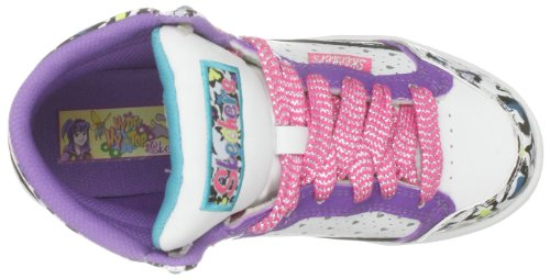 Skechers Sugarcanes, Mädchen Sneaker Weiß (White Smooth/Black & Purple Trim)