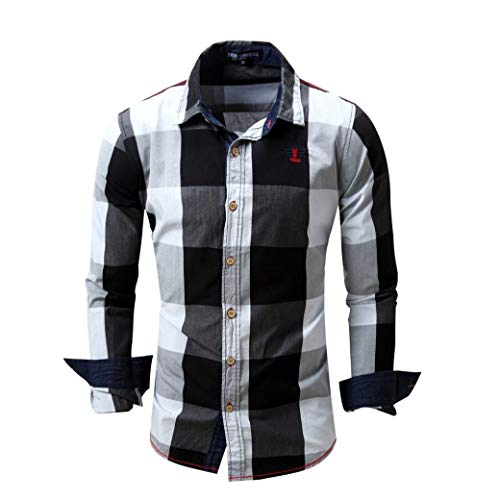 Fashion Men's Checked Shirt Long Sleeve Non-Iron Casual Blouse Cotton Slim Fit Plaid Lapel Top