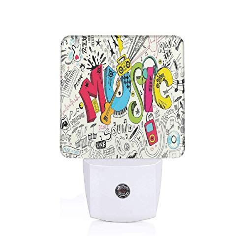Pop Art Featured Doodle Style Musical Background With Instruments Sound Art Illustration Plug-in LED Night Light Lamp with Dusk to Dawn Sensor, Night Home Decor Bed Lamp - Doodle-pop-art