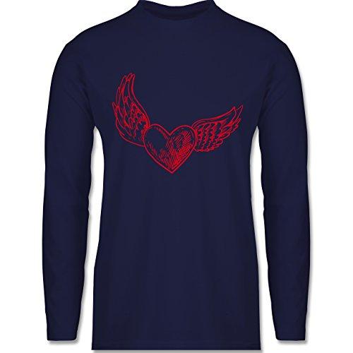 Valentinstag - Engelherz - Longsleeve / langärmeliges T-Shirt für Herren Navy Blau
