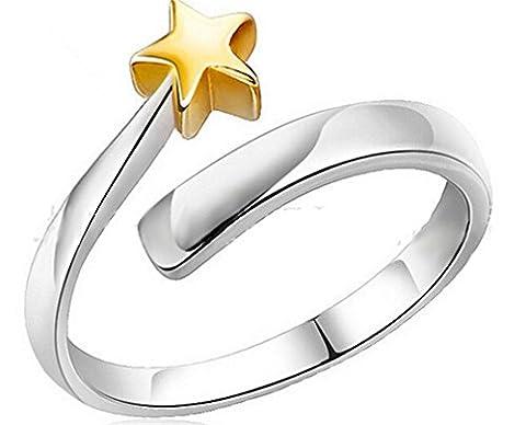 Wiftly Ringe Damen Eheringe Nagelring 925er Silber Goldet Sterne Ringöffnung Knöchel Ringe Verstellbare