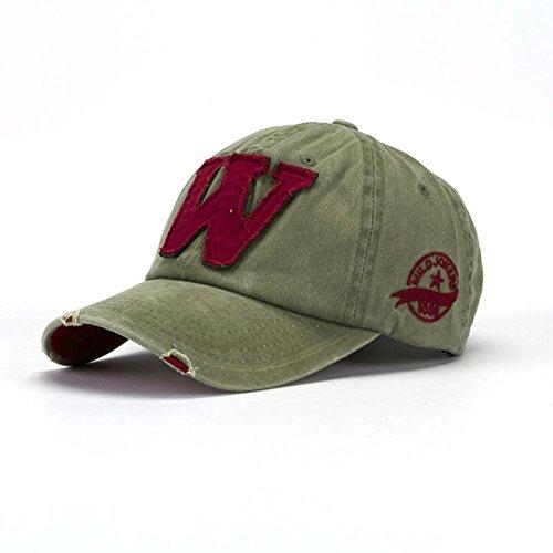 Cappellini con Visiera da baseball Hip-Hop Unisex, DoraMe Berretto mimetico da uomo e da donna estivi Le lettere W fanno il vecchio cappello (Cachi)