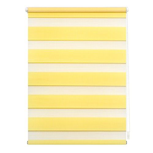 Lichtblick Duo-Rollo Klemmfix, 80 cm x 150 cm (B x L) in Gelb, ohne Bohren, Doppelrollo für Fenster & Türen, moderner Sichtschutz, innovative Kombination aus Rollo & Jalousie