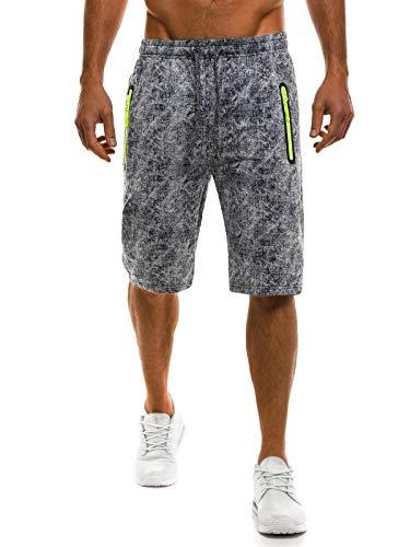 OZONEE Herren Hose Shorts Kurzhose Sporthose Fitness Freizeitshorts Jogginghose Bermudas RED Fireball W1019 DUNKELBLAU 2XL