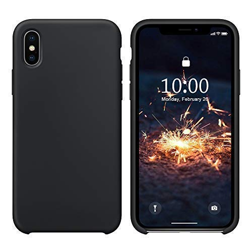 SURPHY iPhone XS MAX Silikon Hülle, Schutzschale vor Stürzen & Stößen Silikon Handyhülle für Apple iPhone XS MAX (6,5 Zoll), Schwarz