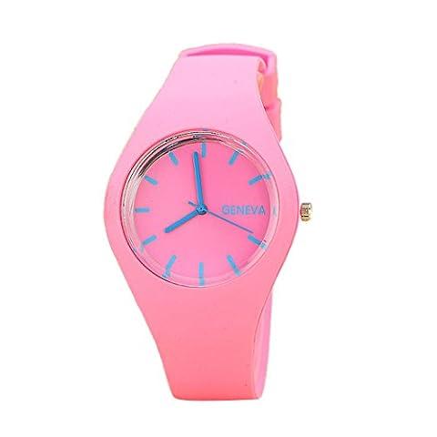 Culater® Femmes Loisirs Sports Couleur Bonbon Gelée Bracelet en Silicone (rose)