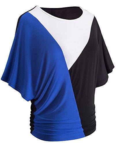 HOMEYEE Maglietta Casuale della Rappezzatura di Colore della Manica Corta del Manicotto Dell'Annata delle Donne di T013 Blu