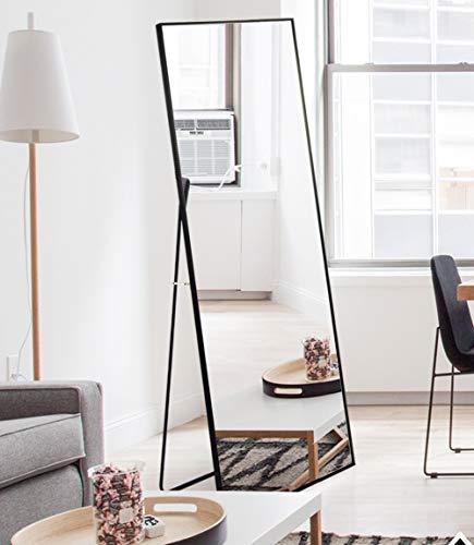AUFHELLEN Standspiegel mit Schwarz Metallrahmen 140x40cm HD Groß Ganzkörperspiegel mit Haken für Wohnzimmer oder Ankleidezimmer (Schwarz)