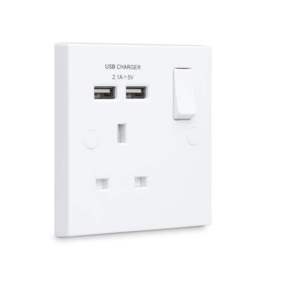 BG Electrical 922u//s Double Plug Socket 2 Gang Brushed Steel with 2 x usb shelf