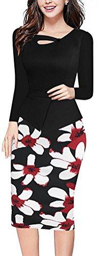 SunIfSnow - Robe spécial grossesse - Moulante - À Fleurs - Manches Longues - Femme Noir