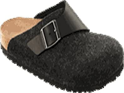Birkenstock Original Basel Waxy Leder/Wool Normal, Black/Anthrazit, 112121 42,0