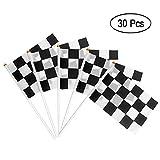 Heqishun 30 Piezas Banderas de Carrera a Cuadros con Palos de Plástico Banner Race Car Decoración para Eventos de Partido Fiesta Bandera de Tejido de Poliéster Negro y Blanco