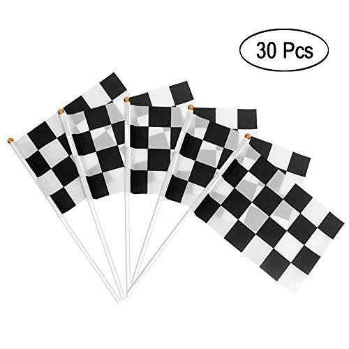 Heqishun Zielflagge Formel 1 30 Stück Racing Flaggen Formel Fahne Schwarz Weiß für GeburtstagRennwagenparty und Racing