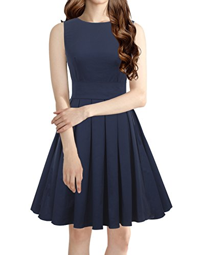 LUOUSE Sommer Damen Ohne Arm Kleid Dress Vintage kleid Junger abendkleid,NavyBlue,M (Edel Abendmode)