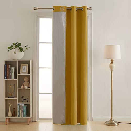 Deconovo tende termiche isolanti in tessuto oxford per finestre soggiorno tenda per casa moderna 140x180 cm giallo un pannello