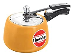 Hawkins Ceramic Coated Contura Pressure Cooker, 5 L, Mustard Yellow