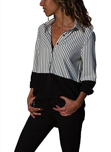Aleumdr Bluse Damen Langarm v Ausschnitt Casual Gestreift Hemd Oberteile Lose Lange Ärmel Vorne Kurz Hinten Lang Polka Dots Sommer Hemdbluse S-XXL, Schwarz, Small(EU36-38)