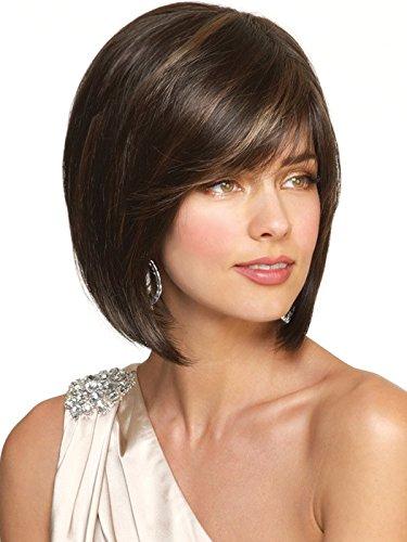 Bestland Frauen Kurzer Straight Bob Style Synthetischer Brauner Mix Blonde Highlights Haarperücken für (Spaß Menschen Zwei Kostüme)