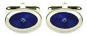 Blau & Weiß Starburst Manschettenknöpfe–Rhodium Teller oval. Ein tolles Paar Manschettenknöpfe oder Krawatten Clip als im Bild gezeigt, die perfekte Geschenk für einige One spezielle.