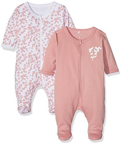 NAME IT Baby-Mädchen NBFNIGHTSUIT 2P Zip W/F NOOS Schlafstrampler, Mehrfarbig (Rose Tan), 56 (2er Pack)