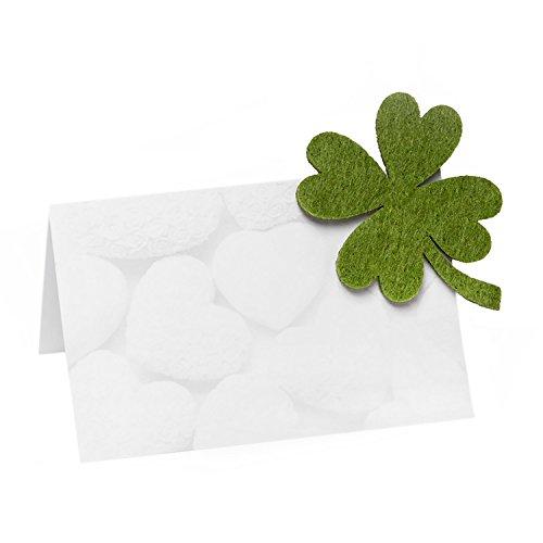 50 weiße HERZ-Karten mit grünem Filz Klee-Blatt (m. Klebepunkt, 5,5 cm) stabile kleine Namens-Kärtchen Tischkarten Namens-Schilder Sitzkarten Platzkarten- mit JEDEM Stift beschreibbar! Klee Karte