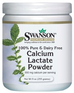 Swanson 100% Pure & Dairy Free Calcium Lactate Powder (550mg, 255g) by Swanson Health Products