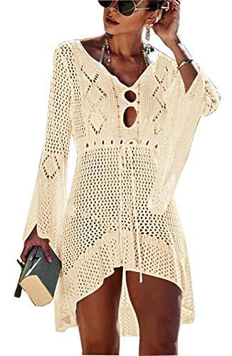 Crochet Cover-up (Yidarton Strandkleid Damen Gestrickte Sommerkleid Bikini Cover Up Crochet Strandponcho V-Ausschnitt Badeanzug Beachwear Cover Up (Aprikose))