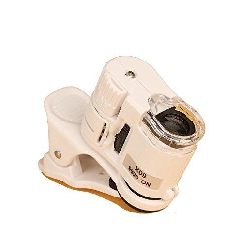WAOBE Vergrößerungsglas 60X optischer Zoom-Handy-LED-Mikroskop-Vergrößerungsglas-Linse mit...