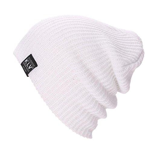BZLine® Männer Baggy Warm Wolle Ski Mütze Skull Slouchy Caps Hut (Weiß) (Baumwoll-skull-cap Weiße)