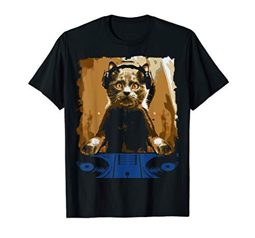 cec6576a7a DJ Cat Shirt Cat DJ EDM Music Cute Kitty Tee T-Shirt