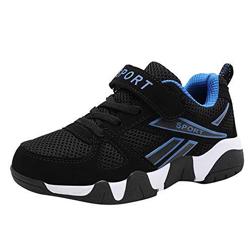 Rokoy Scarpe da Ginnastica Basse Unisex Bambini - Scarpe da Corsa Ginnastica Respirabile Mesh Antiscivolo Running Sneakers Fitness Casual Shoes(37,Blu)