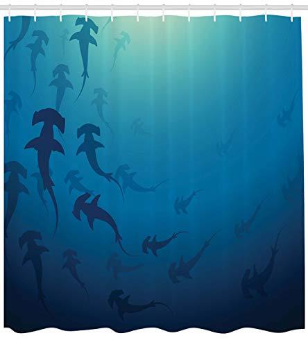 ABAKUHAUS Navy blau Duschvorhang, Hammerhai, mit 12 Ringe Set Wasserdicht Stielvoll Modern Farbfest und Schimmel Resistent, 175x200 cm, Marineblau (Blau Duschvorhang Set)