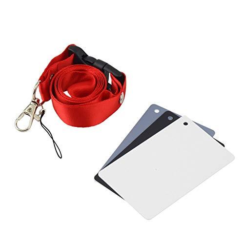 3-in-1-Digitalkamera im Taschenformat 18% Weiß Schwarz Grau Balance-Karten mit Umhängeband für Digitalfotografie - Weiß