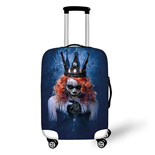 Travel Luggage Cover Suitcase Protector,Queen,Queen of Death Scary Body Art Halloween Evil Face Bizarre Make Up Zombie,Navy Blue Orange Black,for Travel (Scary Fairy Halloween-make-up)