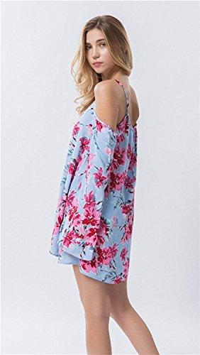 Dioufond Sexy Femme Blouse Tunique Epaules Nues à Bretelles Manches Longues Loose Shirt Tops Sky