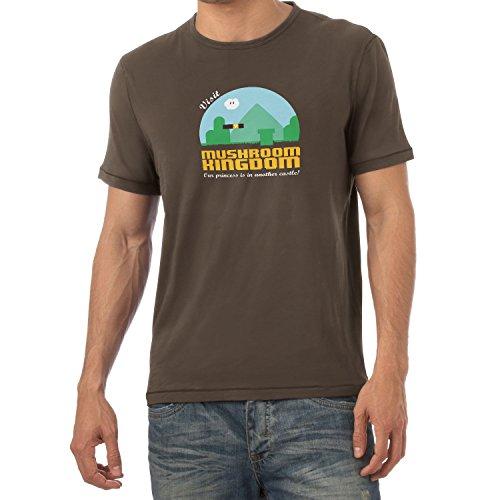 NERDO - Visit Mushroom Kingdom - Herren T-Shirt, Größe XL, braun (Donkey Kong Kostüm Shirt)