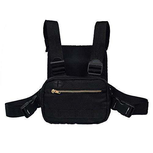 Womdee Fashion Chest Front Bag, Casual Chest Pack mit Kopfhöreranschluss, Chest Rig Bag für Outdoor-Wandern, Camping, Schießspiele und Reiten -