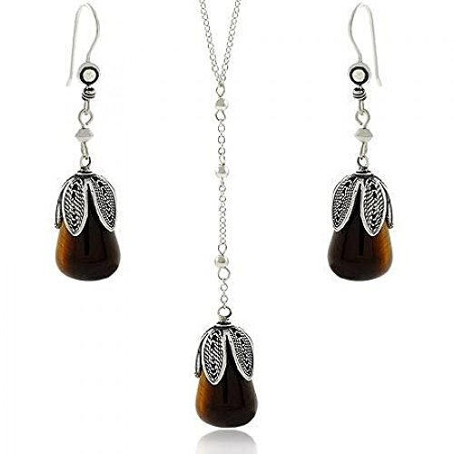 Sterling Silver Genuine Tiger Eye Leaf Petal Dangle Earrings & Y Necklace 18.5-19.5