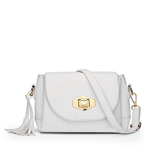 Hqyss Borse Da Donna Donna Pu Leather Simple Simple Shoulder Messenger Borsa A Tracolla Leggera Colore Solido Con Fibbia Tassel Bag White (s)