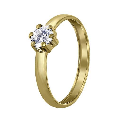 Lucardi - 585 Gold Damenring mit Zirkonia für Damen - 14 Karat (585) Gelbgold - Größe 58 (18.5) mm