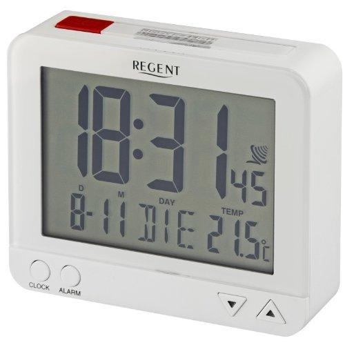 Regent digitaler Funk-Wecker LCD sensorgesteuerte Nachtlicht-Funktion Schlummer-Funktion Obenabsteller Reise-Wecker weiß/rot 44-740-0