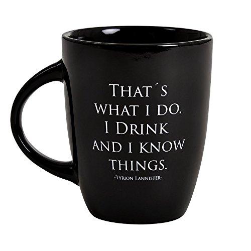 Elbenwald Game of Thrones Keramik-Tasse Tyrion Lannister Drink and know Things Noble Words Kollektion 250 ml schwarz