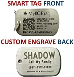 MyICETag Steel CUSTOM ENGRAVED Plus SMART Dog Tag Helps Protect Your Pet from Getting Lost - No Electronics, Batteries and Web/GPS Enabled - Scan With Any Smart Phone for Full Medical Info