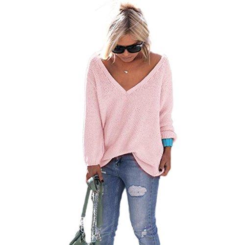 Damen Pullover Sweatshirt Cardigan Ronamick V-Ausschnitt Loose Gestickte Langarm Casual Warm Stricken Strickpulli Strickjacke Strickpullover(L, Rosa) -